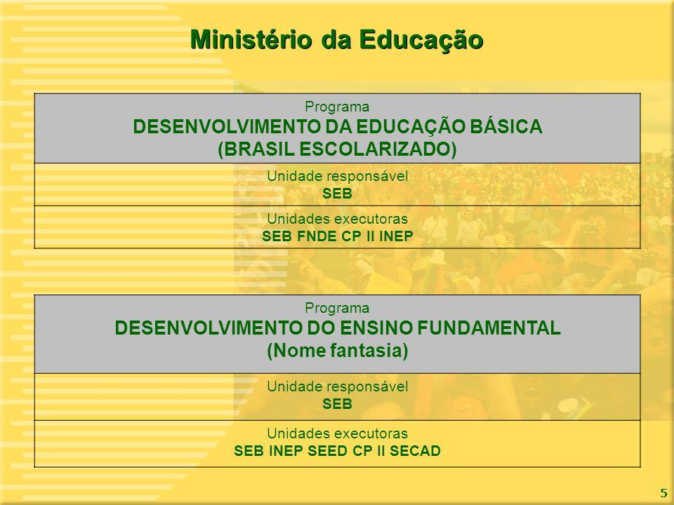 5 Ministério da Educação Programa DESENVOLVIMENTO DA EDUCAÇÃO BÁSICA (BRASIL ESCOLARIZADO) Unidade responsável SEB Unidades executoras SEB FNDE CP II