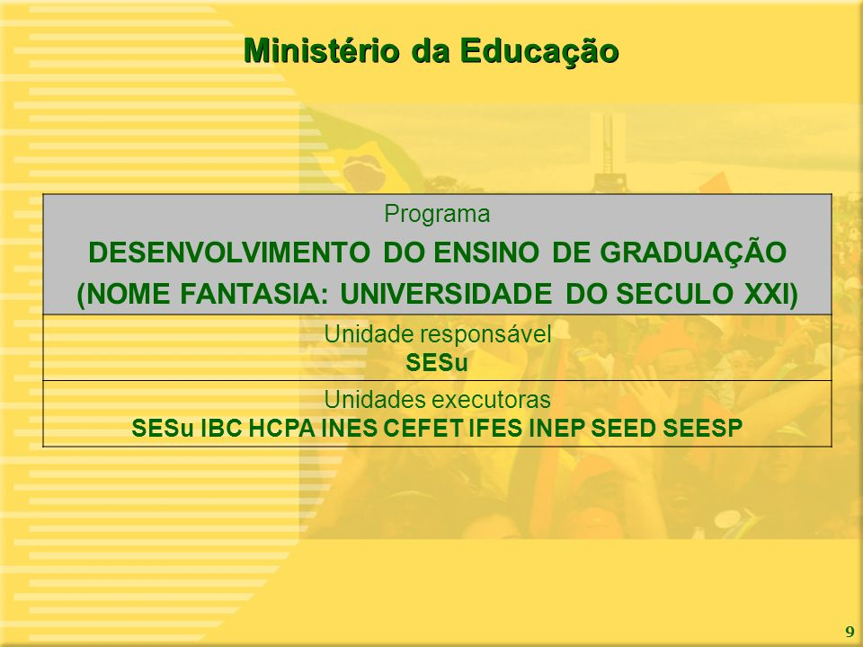 9 Ministério da Educação Programa DESENVOLVIMENTO DO ENSINO DE GRADUAÇÃO (NOME FANTASIA: UNIVERSIDADE DO SECULO XXI) Unidade responsável SESu Unidades