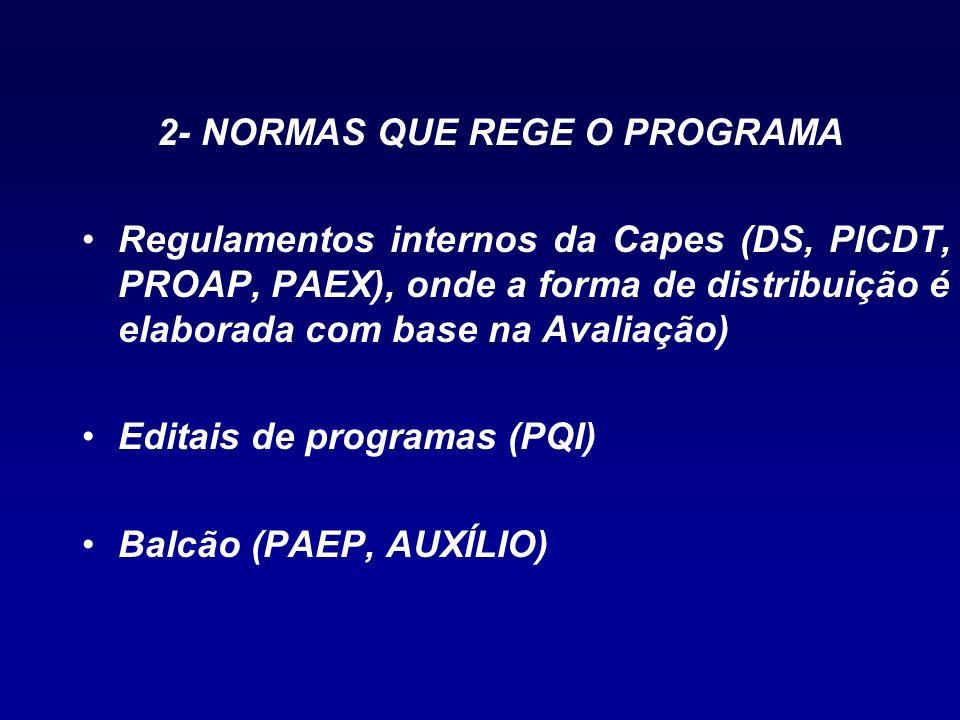 2- NORMAS QUE REGE O PROGRAMA Regulamentos internos da Capes (DS, PICDT, PROAP, PAEX), onde a forma de distribuição é elaborada com base na Avaliação)