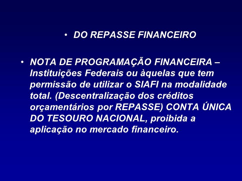 DO REPASSE FINANCEIRO NOTA DE PROGRAMAÇÃO FINANCEIRA – Instituições Federais ou àquelas que tem permissão de utilizar o SIAFI na modalidade total. (De