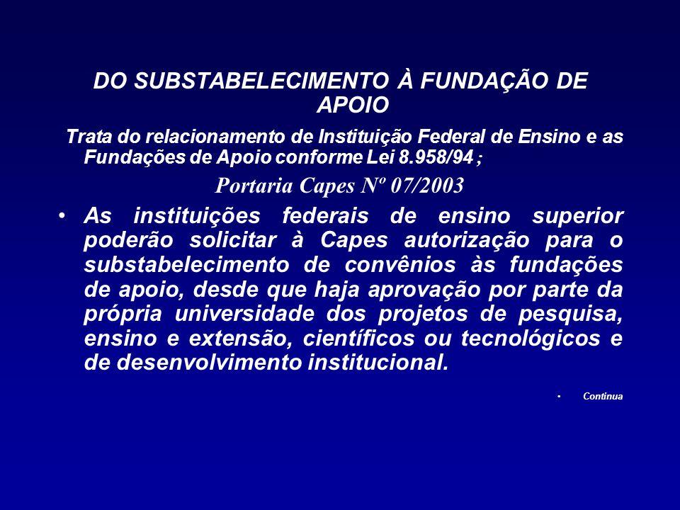 DO SUBSTABELECIMENTO À FUNDAÇÃO DE APOIO Trata do relacionamento de Instituição Federal de Ensino e as Fundações de Apoio conforme Lei 8.958/94 ; Port