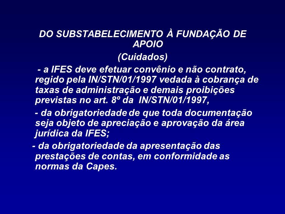 DO SUBSTABELECIMENTO À FUNDAÇÃO DE APOIO (Cuidados) - a IFES deve efetuar convênio e não contrato, regido pela IN/STN/01/1997 vedada à cobrança de tax