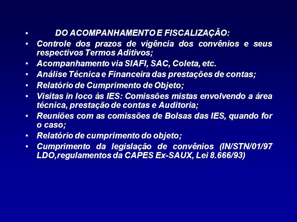 DO ACOMPANHAMENTO E FISCALIZAÇÃO: Controle dos prazos de vigência dos convênios e seus respectivos Termos Aditivos; Acompanhamento via SIAFI, SAC, Col
