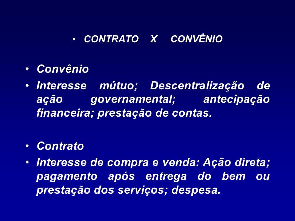 CONTRATO X CONVÊNIO Convênio Interesse mútuo; Descentralização de ação governamental; antecipação financeira; prestação de contas. Contrato Interesse