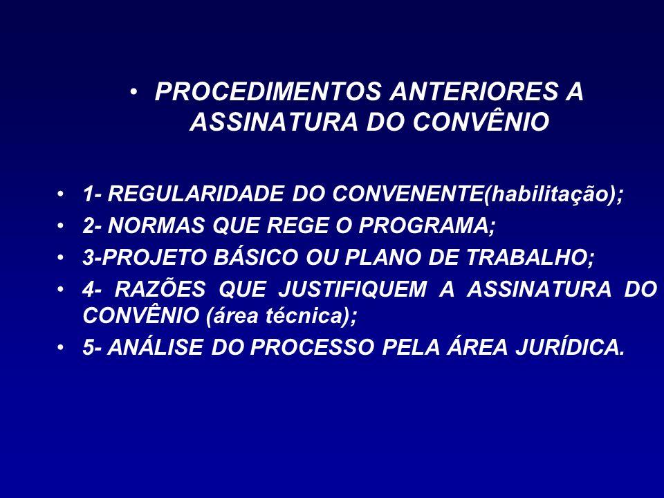 PROCEDIMENTOS ANTERIORES A ASSINATURA DO CONVÊNIO 1- REGULARIDADE DO CONVENENTE(habilitação); 2- NORMAS QUE REGE O PROGRAMA; 3-PROJETO BÁSICO OU PLANO