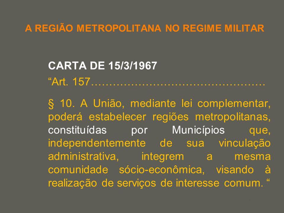 your name A REGIÃO METROPOLITANA NO REGIME MILITAR CARTA DE 15/3/1967 Art. 157………………………………………… § 10. A União, mediante lei complementar, poderá estabe