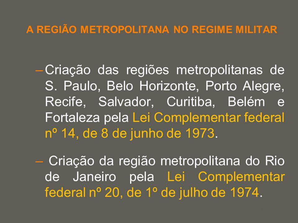 your name A REGIÃO METROPOLITANA NO REGIME MILITAR –Criação das regiões metropolitanas de S. Paulo, Belo Horizonte, Porto Alegre, Recife, Salvador, Cu