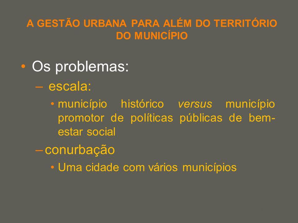 your name A GESTÃO URBANA PARA ALÉM DO TERRITÓRIO DO MUNICÍPIO Os problemas: – escala: município histórico versus município promotor de políticas públ