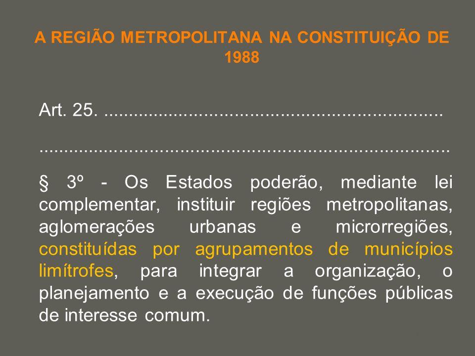 your name A REGIÃO METROPOLITANA NA CONSTITUIÇÃO DE 1988 Art. 25......................................................................................
