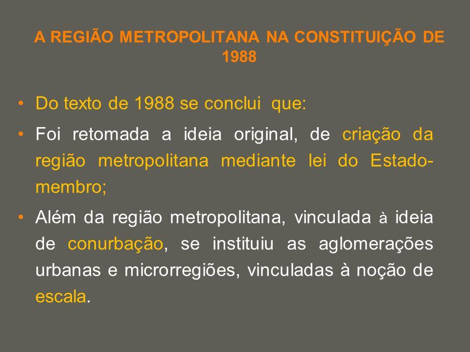 your name A REGIÃO METROPOLITANA NA CONSTITUIÇÃO DE 1988 Do texto de 1988 se conclui que: Foi retomada a ideia original, de criação da região metropol