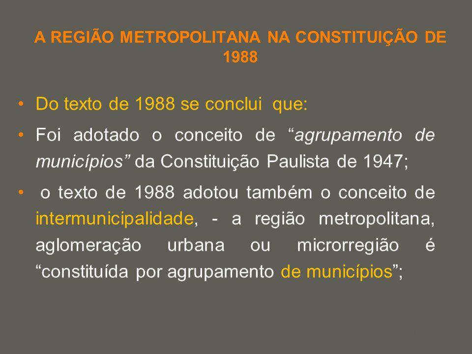 your name A REGIÃO METROPOLITANA NA CONSTITUIÇÃO DE 1988 Do texto de 1988 se conclui que: Foi adotado o conceito de agrupamento de municípios da Const