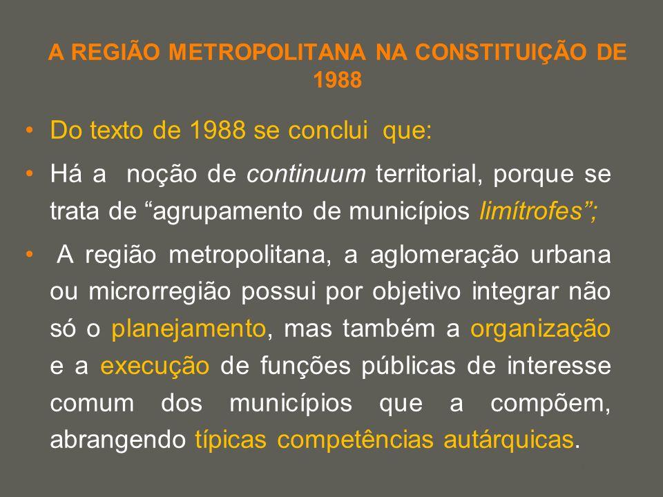your name A REGIÃO METROPOLITANA NA CONSTITUIÇÃO DE 1988 Do texto de 1988 se conclui que: Há a noção de continuum territorial, porque se trata de agru