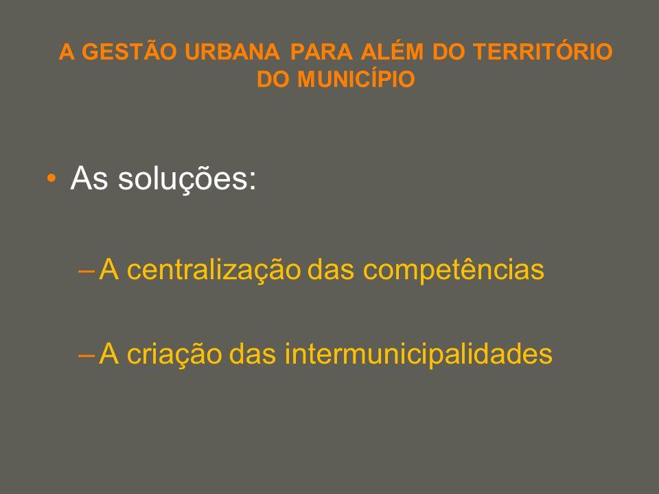 your name A GESTÃO URBANA PARA ALÉM DO TERRITÓRIO DO MUNICÍPIO As soluções: –A centralização das competências –A criação das intermunicipalidades