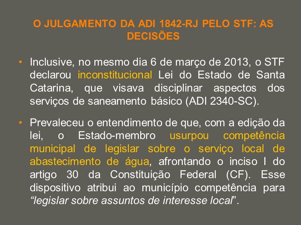 your name O JULGAMENTO DA ADI 1842-RJ PELO STF: AS DECISÕES Inclusive, no mesmo dia 6 de março de 2013, o STF declarou inconstitucional Lei do Estado
