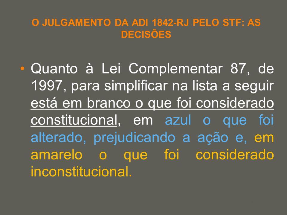 your name O JULGAMENTO DA ADI 1842-RJ PELO STF: AS DECISÕES Quanto à Lei Complementar 87, de 1997, para simplificar na lista a seguir está em branco o