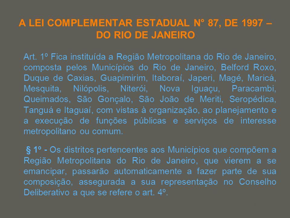 your name A LEI COMPLEMENTAR ESTADUAL N° 87, DE 1997 – DO RIO DE JANEIRO Art. 1º Fica instituída a Região Metropolitana do Rio de Janeiro, composta pe