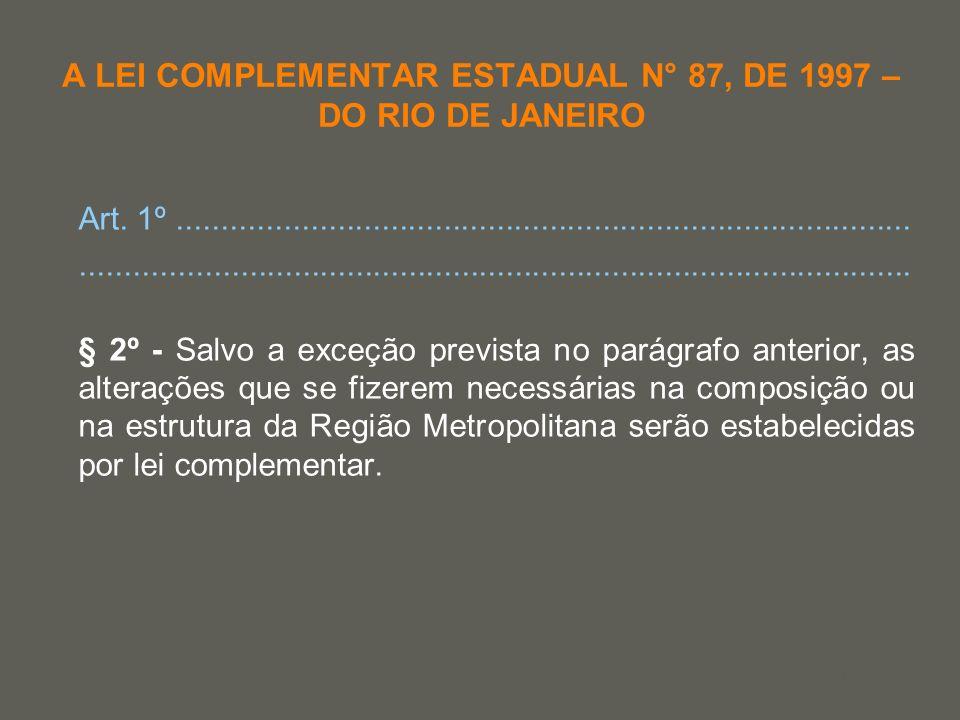 your name A LEI COMPLEMENTAR ESTADUAL N° 87, DE 1997 – DO RIO DE JANEIRO Art. 1º......................................................................