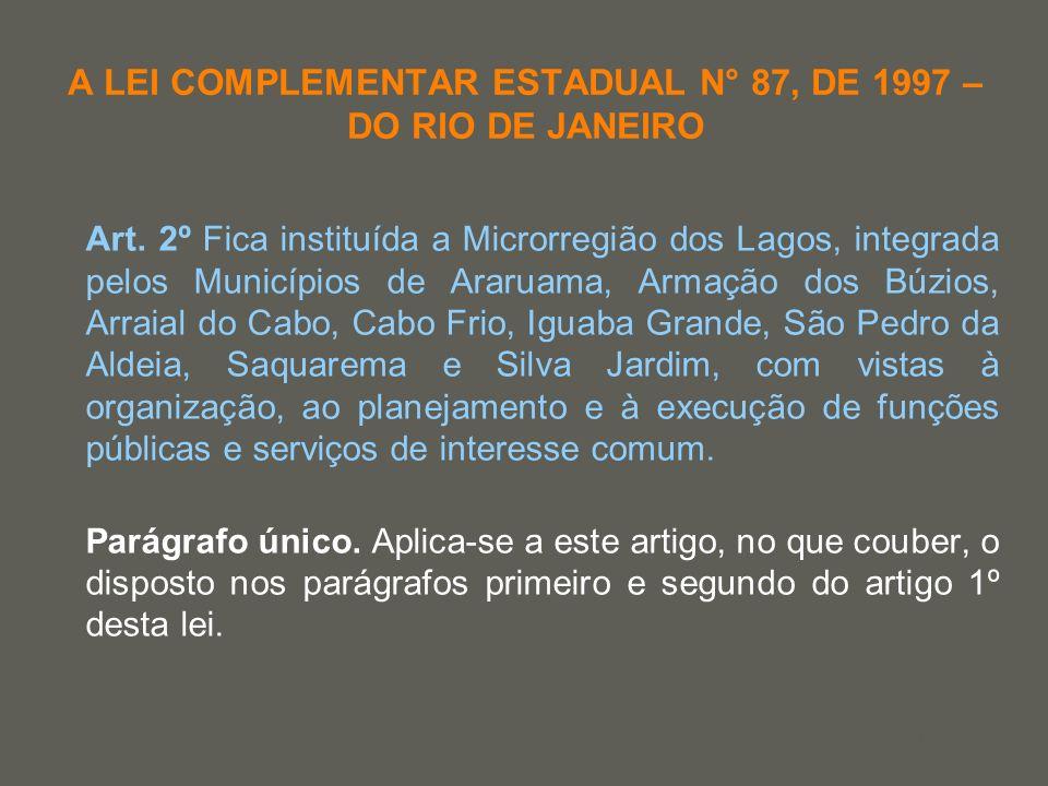 your name A LEI COMPLEMENTAR ESTADUAL N° 87, DE 1997 – DO RIO DE JANEIRO Art. 2º Fica instituída a Microrregião dos Lagos, integrada pelos Municípios
