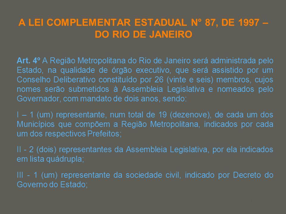 your name A LEI COMPLEMENTAR ESTADUAL N° 87, DE 1997 – DO RIO DE JANEIRO Art. 4º A Região Metropolitana do Rio de Janeiro será administrada pelo Estad