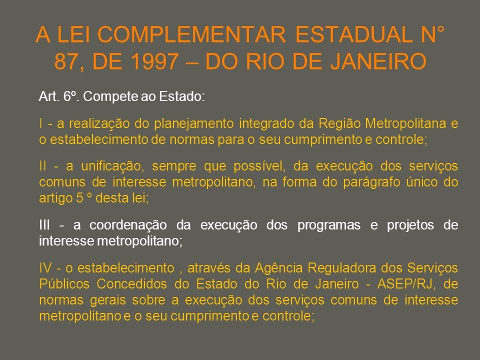 your name A LEI COMPLEMENTAR ESTADUAL N° 87, DE 1997 – DO RIO DE JANEIRO Art. 6º. Compete ao Estado: I - a realização do planejamento integrado da Reg