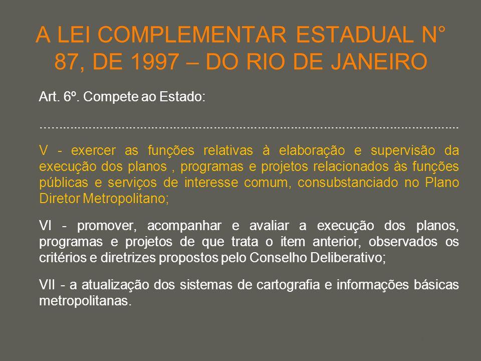 your name A LEI COMPLEMENTAR ESTADUAL N° 87, DE 1997 – DO RIO DE JANEIRO Art. 6º. Compete ao Estado:..................................................