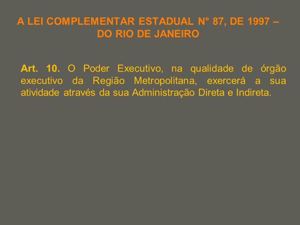 your name A LEI COMPLEMENTAR ESTADUAL N° 87, DE 1997 – DO RIO DE JANEIRO Art. 10. O Poder Executivo, na qualidade de órgão executivo da Região Metropo