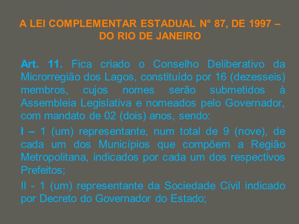your name A LEI COMPLEMENTAR ESTADUAL N° 87, DE 1997 – DO RIO DE JANEIRO Art. 11. Fica criado o Conselho Deliberativo da Microrregião dos Lagos, const