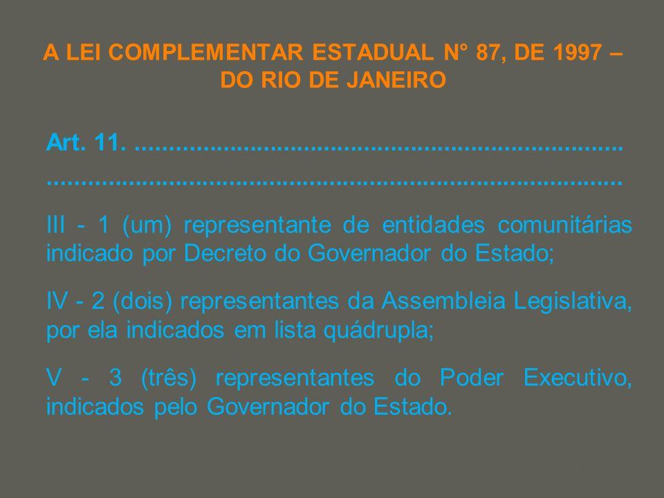 your name A LEI COMPLEMENTAR ESTADUAL N° 87, DE 1997 – DO RIO DE JANEIRO Art. 11......................................................................