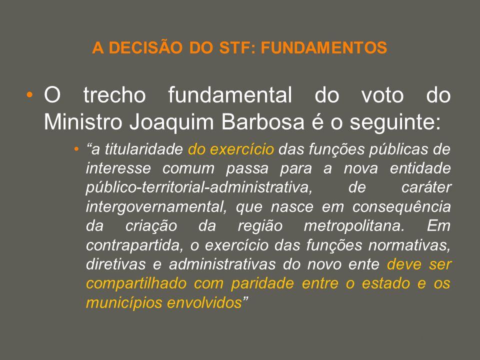your name A DECISÃO DO STF: FUNDAMENTOS O trecho fundamental do voto do Ministro Joaquim Barbosa é o seguinte: a titularidade do exercício das funções