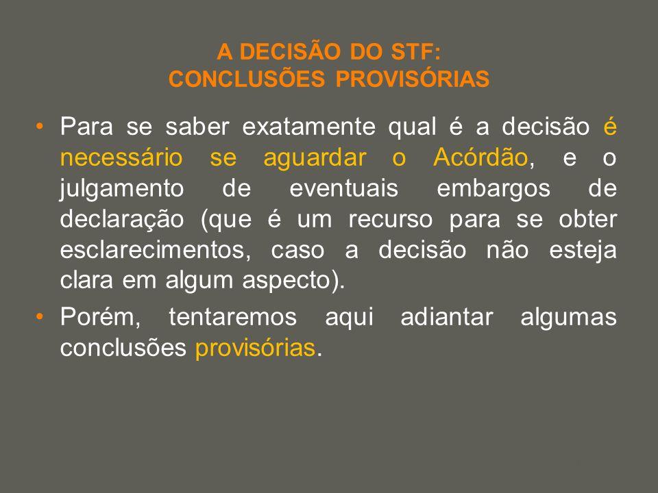 your name A DECISÃO DO STF: CONCLUSÕES PROVISÓRIAS Para se saber exatamente qual é a decisão é necessário se aguardar o Acórdão, e o julgamento de eve