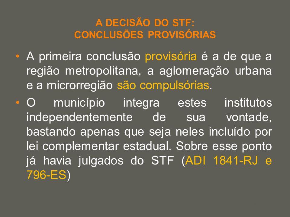 your name A DECISÃO DO STF: CONCLUSÕES PROVISÓRIAS A primeira conclusão provisória é a de que a região metropolitana, a aglomeração urbana e a microrr