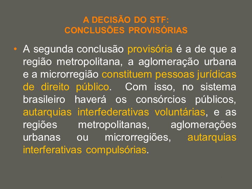 your name A DECISÃO DO STF: CONCLUSÕES PROVISÓRIAS A segunda conclusão provisória é a de que a região metropolitana, a aglomeração urbana e a microrre