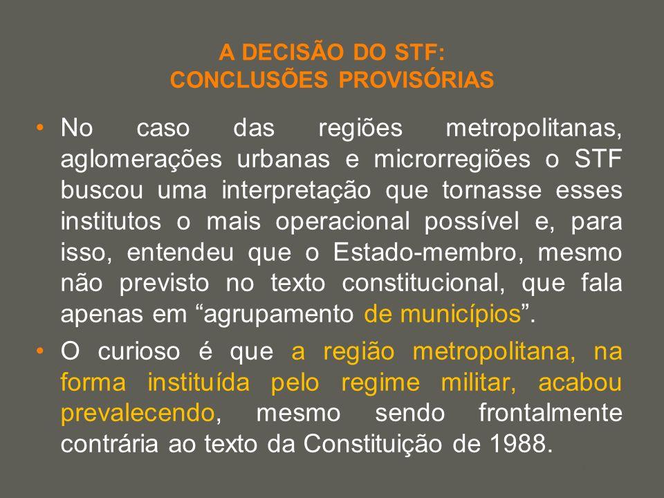 your name A DECISÃO DO STF: CONCLUSÕES PROVISÓRIAS No caso das regiões metropolitanas, aglomerações urbanas e microrregiões o STF buscou uma interpret