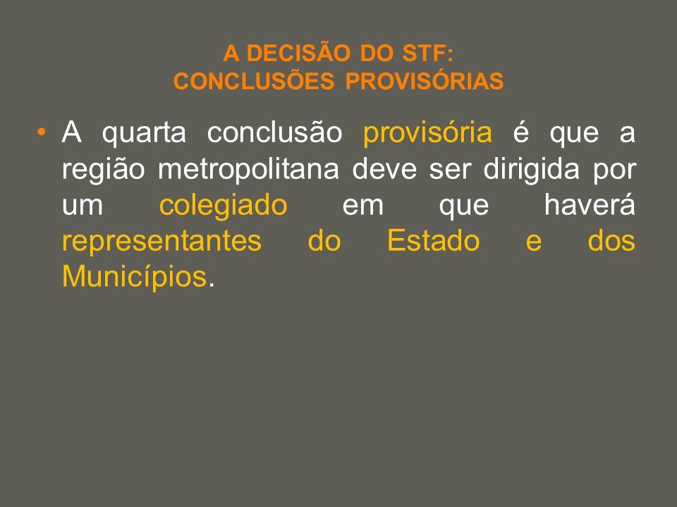 your name A DECISÃO DO STF: CONCLUSÕES PROVISÓRIAS A quarta conclusão provisória é que a região metropolitana deve ser dirigida por um colegiado em qu