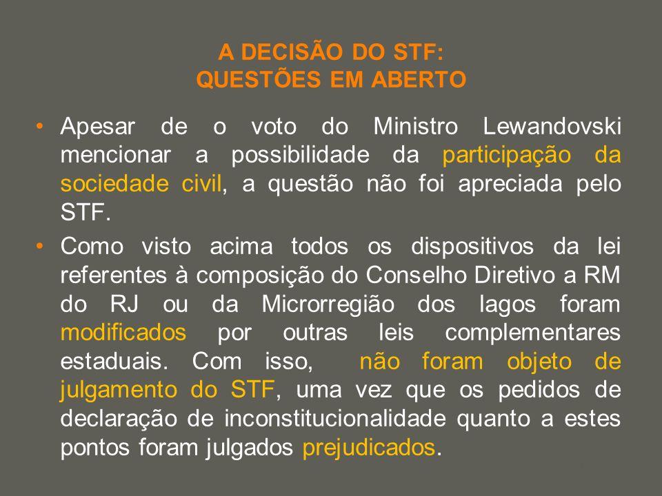 your name A DECISÃO DO STF: QUESTÕES EM ABERTO Apesar de o voto do Ministro Lewandovski mencionar a possibilidade da participação da sociedade civil,