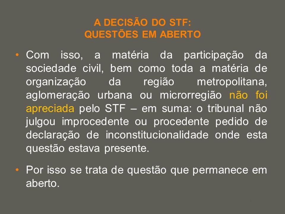 your name A DECISÃO DO STF: QUESTÕES EM ABERTO Com isso, a matéria da participação da sociedade civil, bem como toda a matéria de organização da regiã