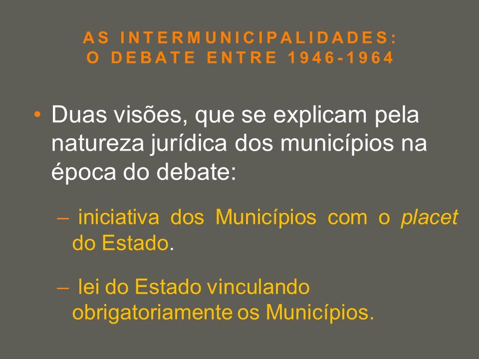 your name AS INTERMUNICIPALIDADES: O DEBATE ENTRE 1946-1964 Duas visões, que se explicam pela natureza jurídica dos municípios na época do debate: – i