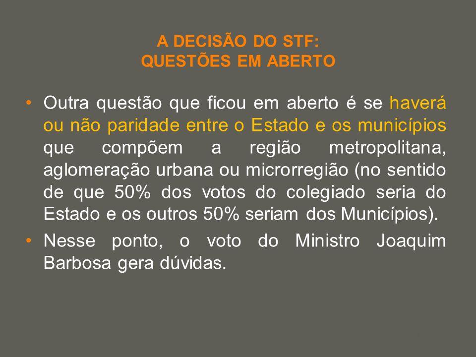 your name A DECISÃO DO STF: QUESTÕES EM ABERTO Outra questão que ficou em aberto é se haverá ou não paridade entre o Estado e os municípios que compõe