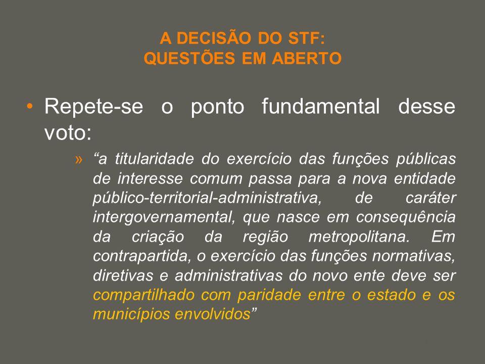 your name A DECISÃO DO STF: QUESTÕES EM ABERTO Repete-se o ponto fundamental desse voto: »a titularidade do exercício das funções públicas de interess