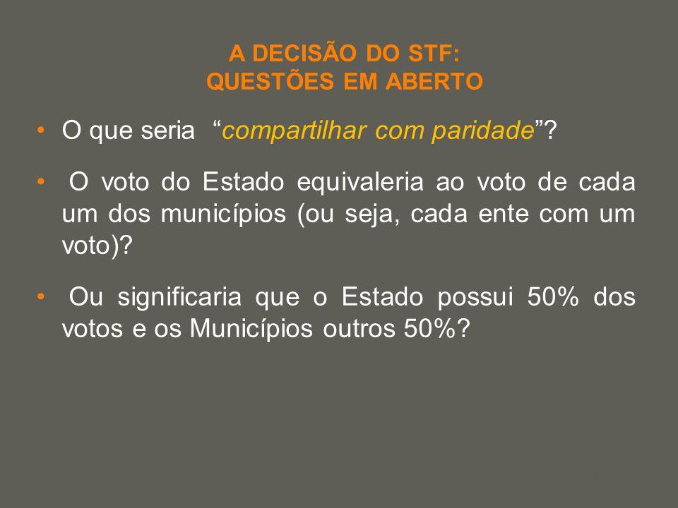 your name A DECISÃO DO STF: QUESTÕES EM ABERTO O que seria compartilhar com paridade? O voto do Estado equivaleria ao voto de cada um dos municípios (