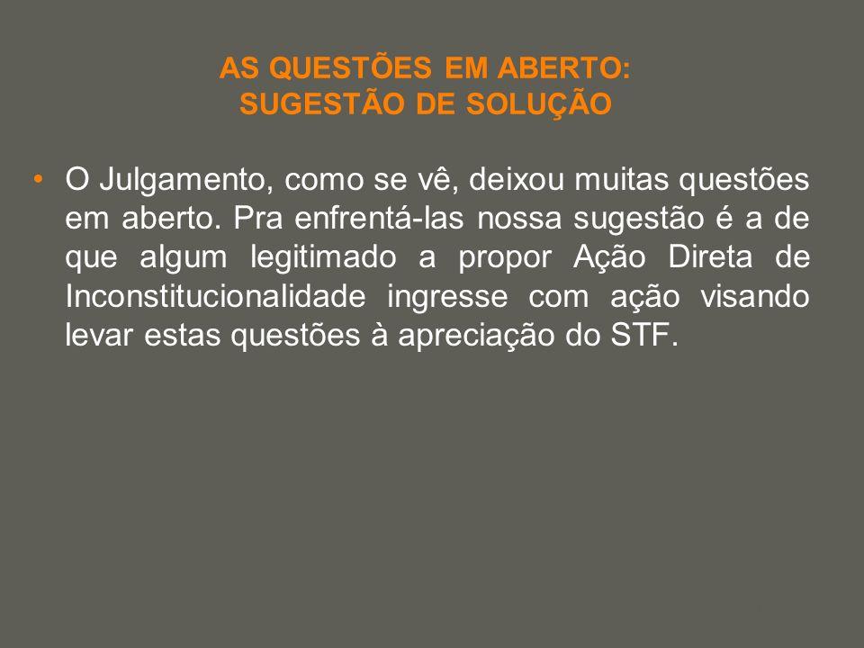 your name AS QUESTÕES EM ABERTO: SUGESTÃO DE SOLUÇÃO O Julgamento, como se vê, deixou muitas questões em aberto. Pra enfrentá-las nossa sugestão é a d