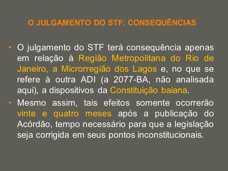 your name O JULGAMENTO DO STF: CONSEQUÊNCIAS O julgamento do STF terá consequência apenas em relação à Região Metropolitana do Rio de Janeiro, a Micro
