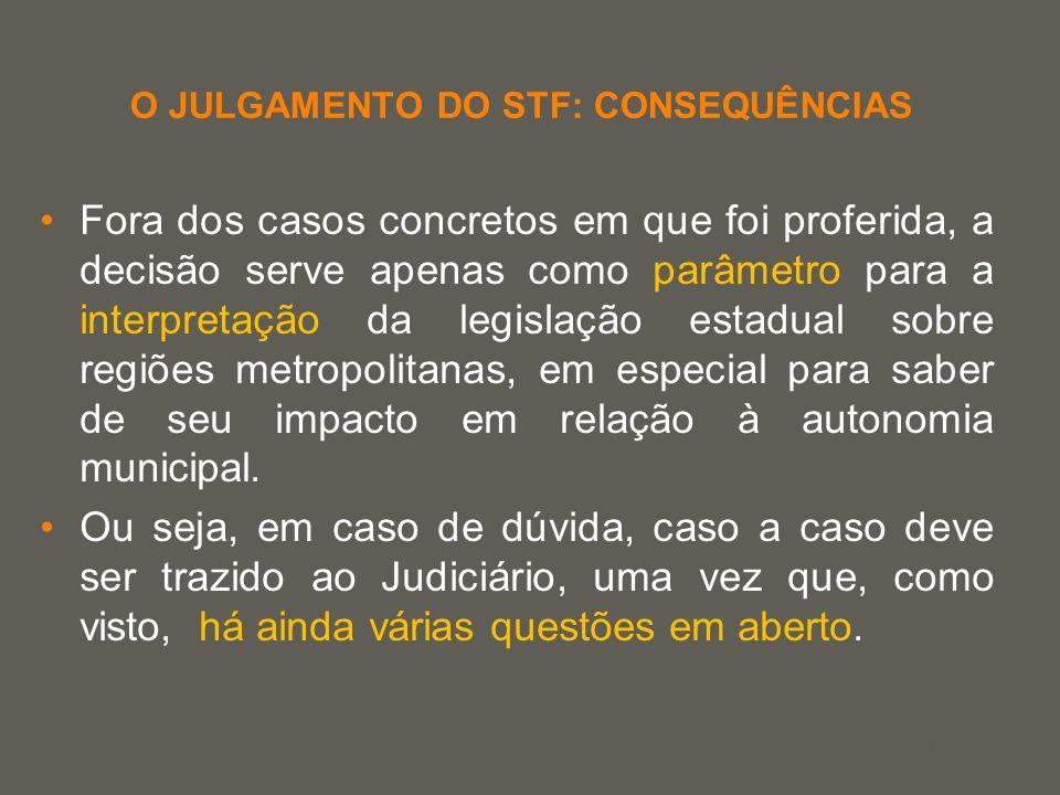 your name O JULGAMENTO DO STF: CONSEQUÊNCIAS Fora dos casos concretos em que foi proferida, a decisão serve apenas como parâmetro para a interpretação
