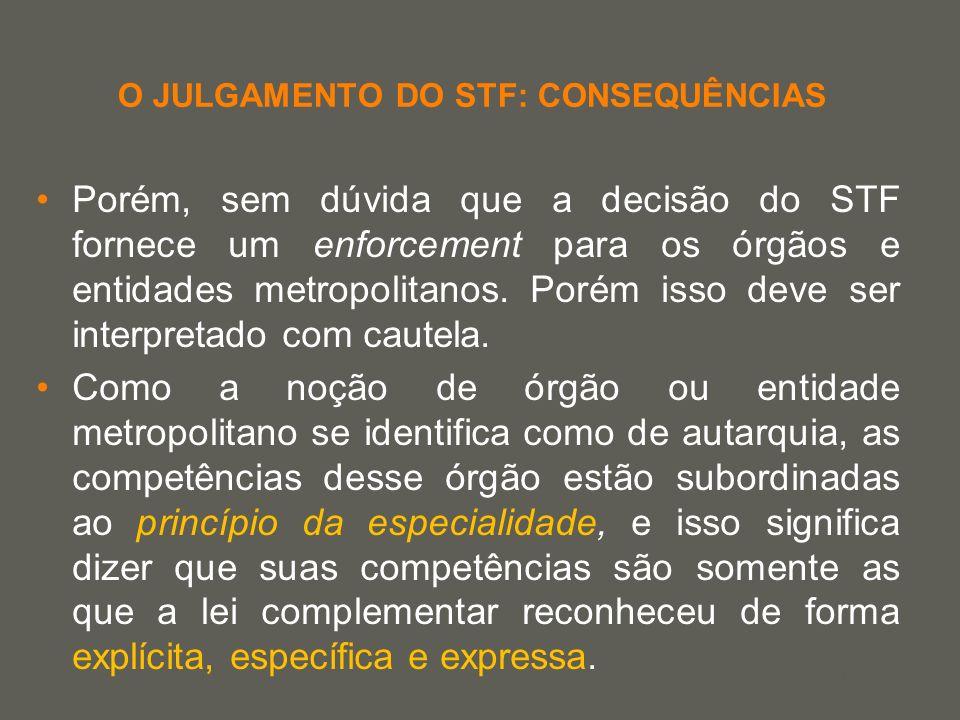 your name O JULGAMENTO DO STF: CONSEQUÊNCIAS Porém, sem dúvida que a decisão do STF fornece um enforcement para os órgãos e entidades metropolitanos.