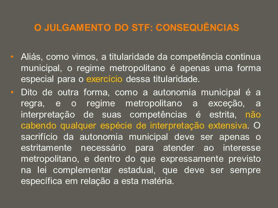 your name O JULGAMENTO DO STF: CONSEQUÊNCIAS Aliás, como vimos, a titularidade da competência continua municipal, o regime metropolitano é apenas uma
