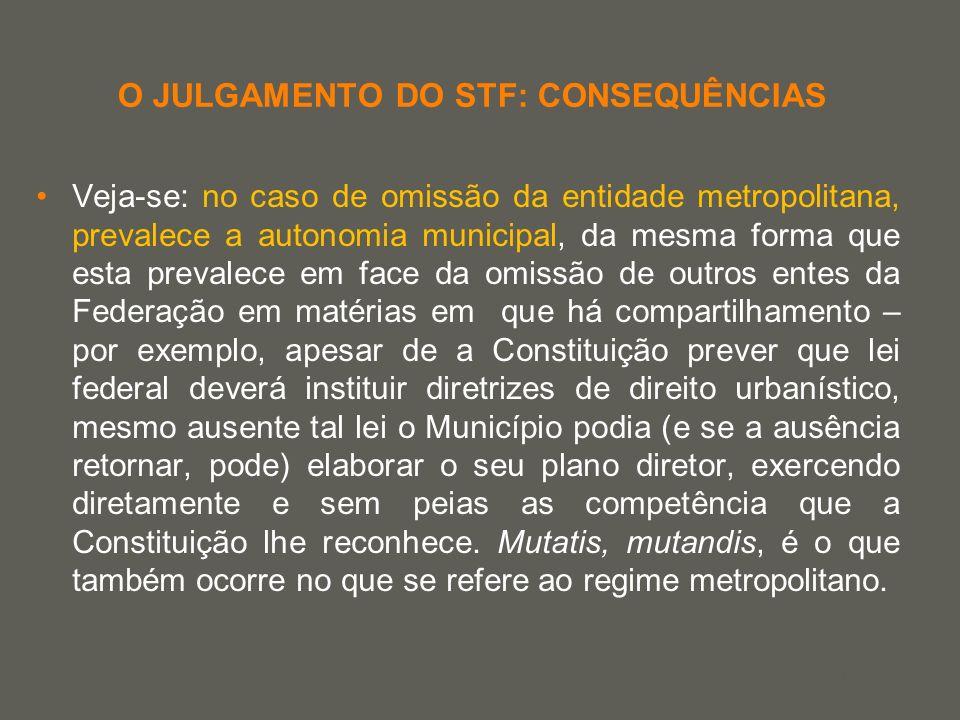 your name O JULGAMENTO DO STF: CONSEQUÊNCIAS Veja-se: no caso de omissão da entidade metropolitana, prevalece a autonomia municipal, da mesma forma qu