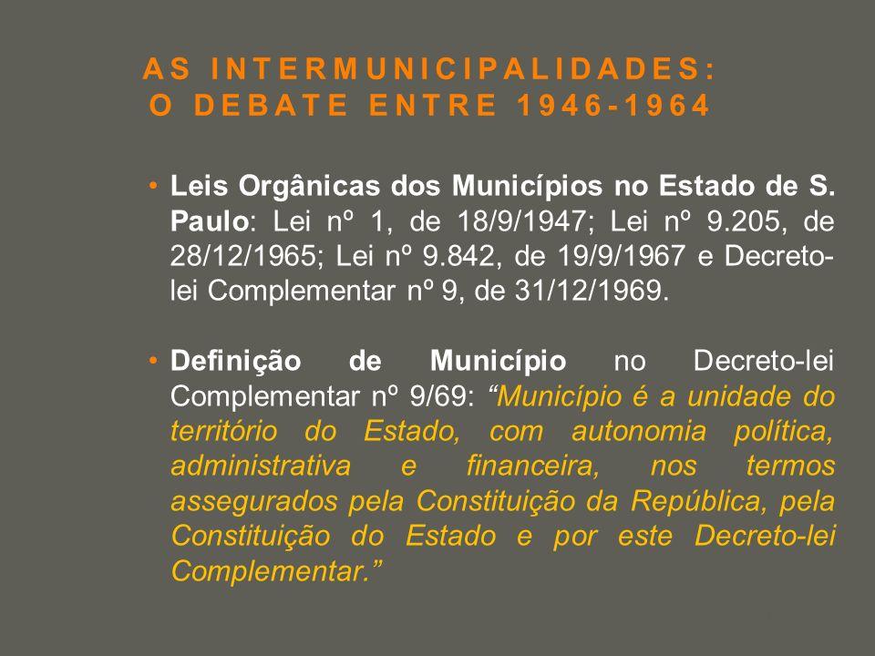 your name AS INTERMUNICIPALIDADES: O DEBATE ENTRE 1946-1964 Leis Orgânicas dos Municípios no Estado de S. Paulo: Lei nº 1, de 18/9/1947; Lei nº 9.205,