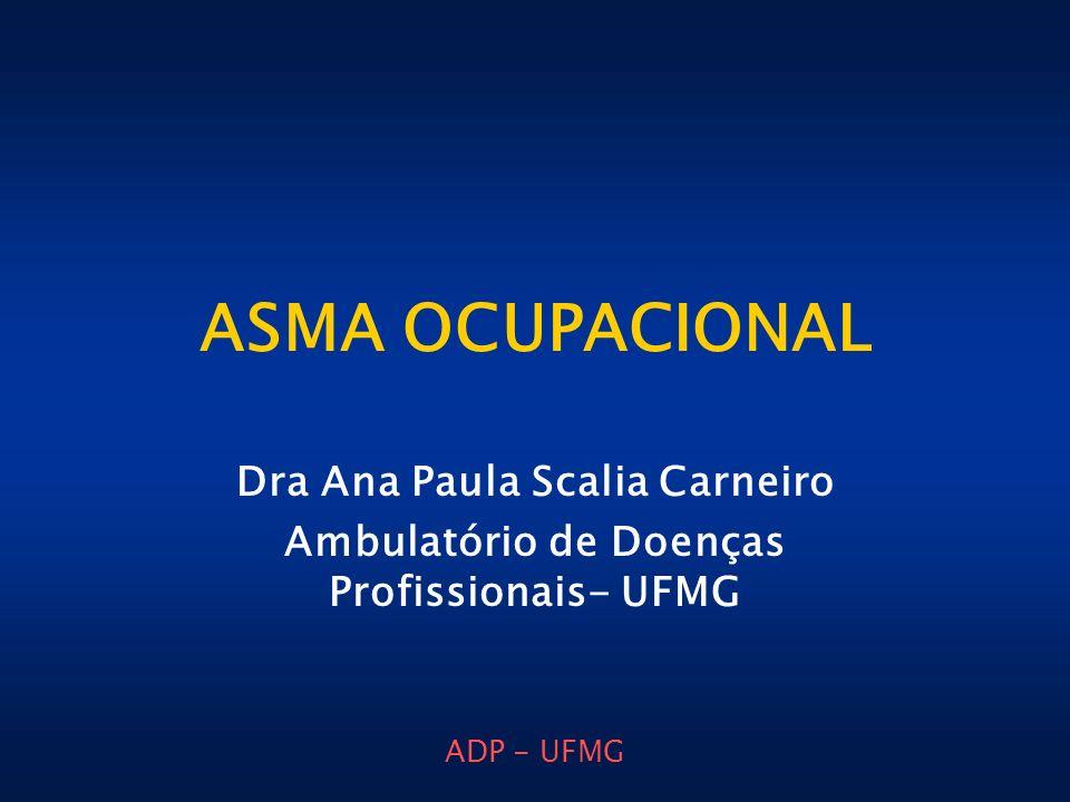 ADP - UFMG ASMA OCUPACIONAL Dra Ana Paula Scalia Carneiro Ambulatório de Doenças Profissionais- UFMG
