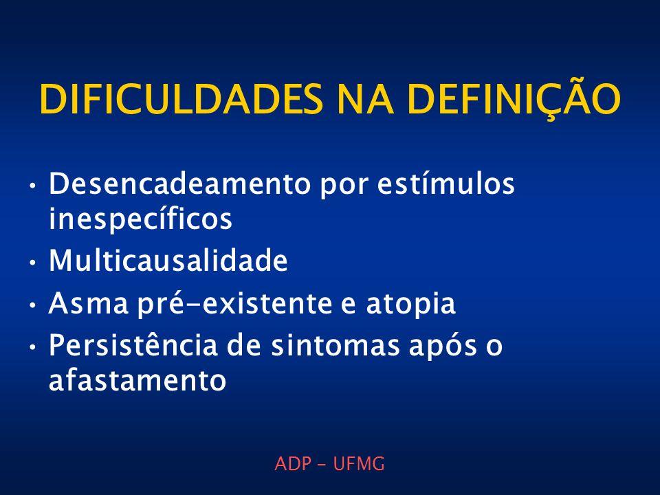 ADP - UFMG DIFICULDADES NA DEFINIÇÃO Desencadeamento por estímulos inespecíficos Multicausalidade Asma pré-existente e atopia Persistência de sintomas
