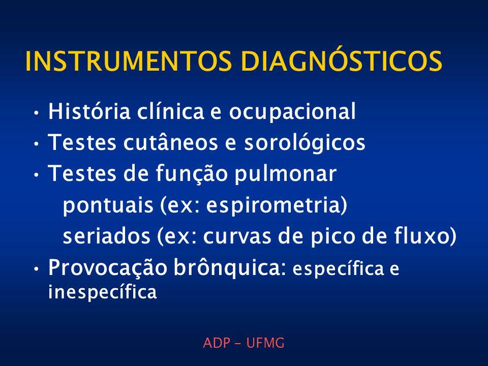 ADP - UFMG INSTRUMENTOS DIAGNÓSTICOS História clínica e ocupacional Testes cutâneos e sorológicos Testes de função pulmonar pontuais (ex: espirometria